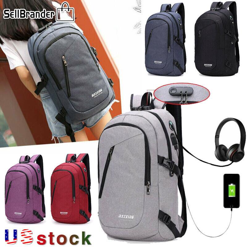 Mens Digit Anti-theft Lock USB Charging Womens Laptop Backpack T - s l1600