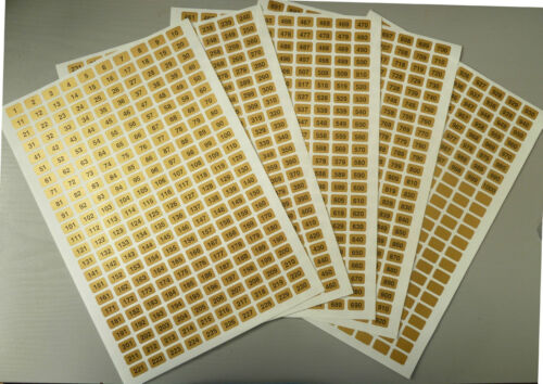 Sequential Number Sequence Labels Numbering Stickers Gold 16x10mm Consecutive