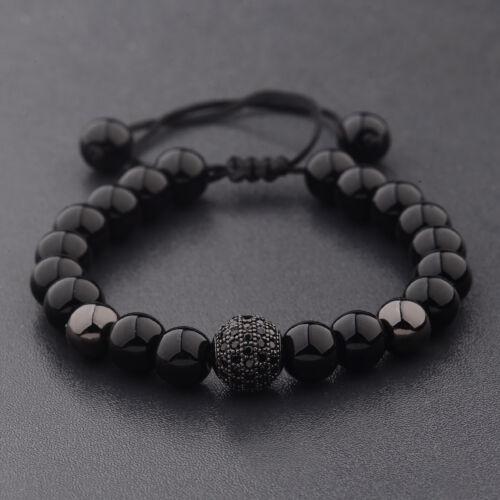 Natural Lava Stone Black Zircon Micro Pave Round Beaded Macrame Bracelets Gift
