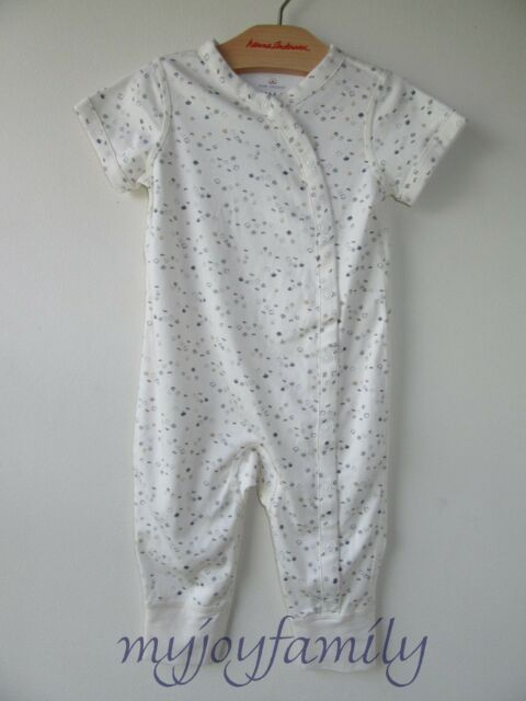d041f0782dc HANNA ANDERSSON Organic Pima Snap Ribbie Romper Soft White 50 0-6 months NWT