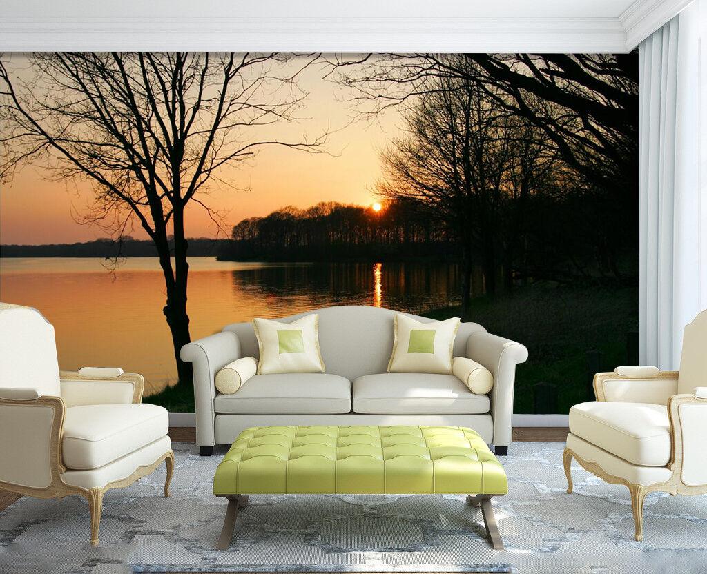 3D Sun Forest Riverside 6134 Wall Paper Wall Print Decal Wall AJ WALLPAPER CA
