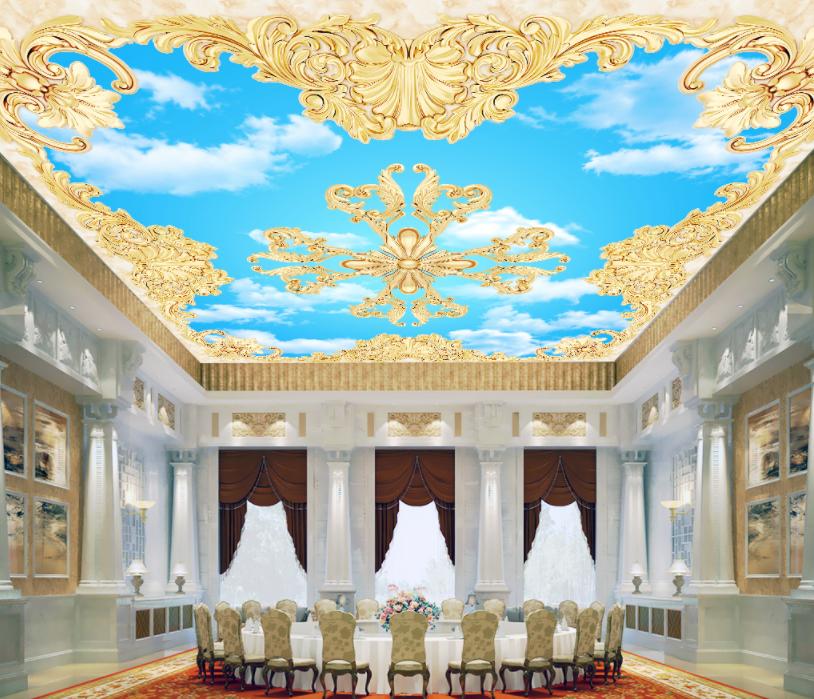 3D Sky Golden Floral 7 Wall Paper Wall Print Decal Wall Deco AJ WALLPAPER Summer