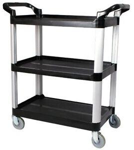 aluminum rolling cart wheeled shelf utility trolley storage organizer 3 tier ebay. Black Bedroom Furniture Sets. Home Design Ideas