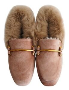 d808b7cff7f Brittany  Pink Faux Suede Leather Fur Loafers Size 7 NEW W out Box ...