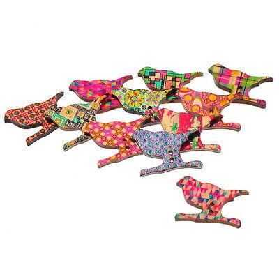 50 Mixte Boutons en Bois Oiseau 2 Trous Couture Scrapbooking 29x21mm