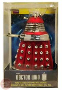 Doctor-Who-Dalek-Red-5-034-Glass-Xmas-Ornament-NEW-Christmas-Tree-Decoration