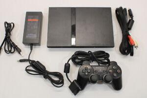Sony PS2 SCPH-75000 Black Slim Console Cont AC AV Bundle Japan Import 2PC87