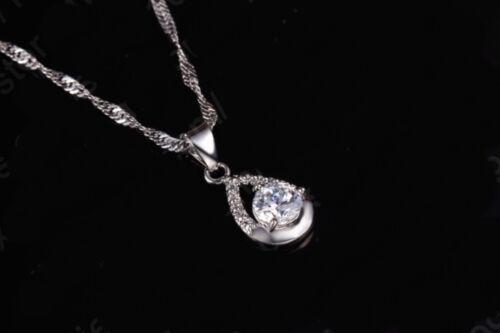 925 Plata Nupcial Boda Cristal Pave Gota de Agua Collar y Pendiente Joyería