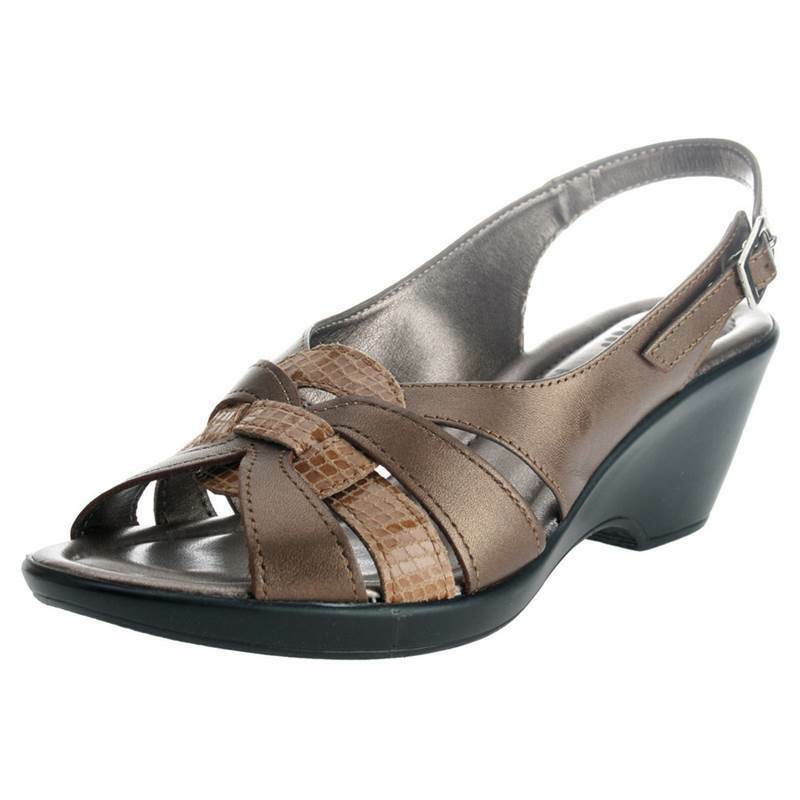 Spring Step ADORABLE Womens Bronze Leather Comfort Wedge Platform Sandal