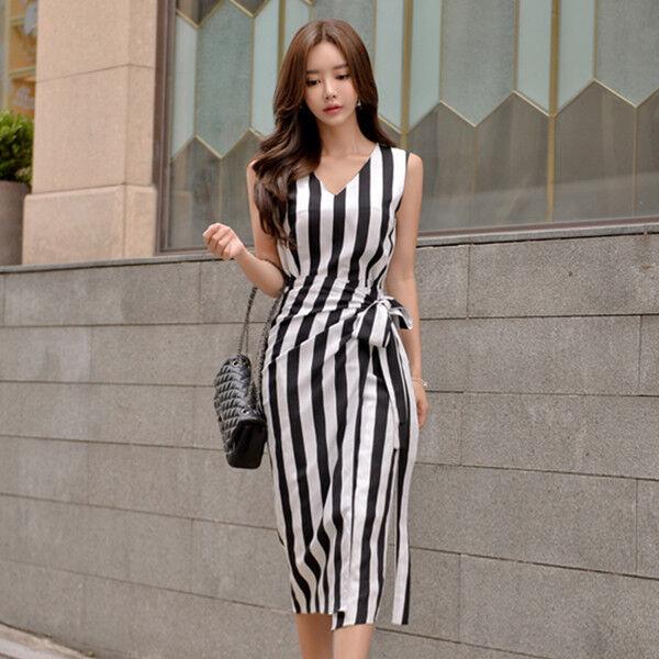 Vestitino abito tubino  corto bianco nero righe slim elegante morbido 4551