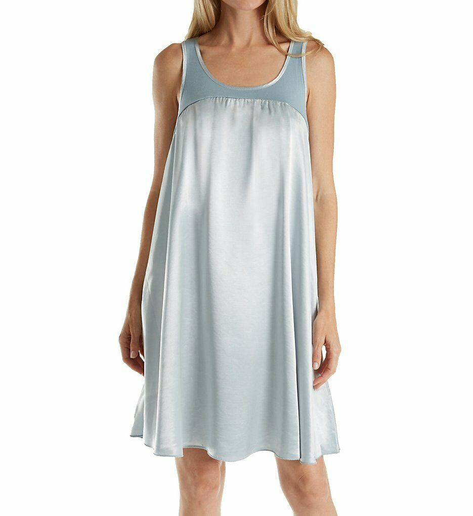 PJ Harlow MORNING blueE Satin and Rib Nightgown Lindsay, US X-Small