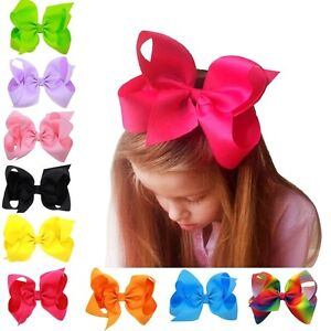 3-034-4-034-5-034-6-034-8-034-INCH-BOUTIQUE-HAIR-CLIP-PIN-ALLIGATOR-GROSGRAIN-RIBBON-BOW-GIRL
