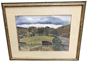 CAROL-WEINSTOCK-AMERICAN-1914-1971-COUNTRY-SCENE-WATERCOLOR