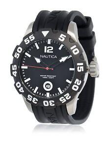 Orologio-Uomo-Nautica-A15019G-Scuba-Acciaio-Gomma-Nero-WR-100m-Diver-Mens-watch