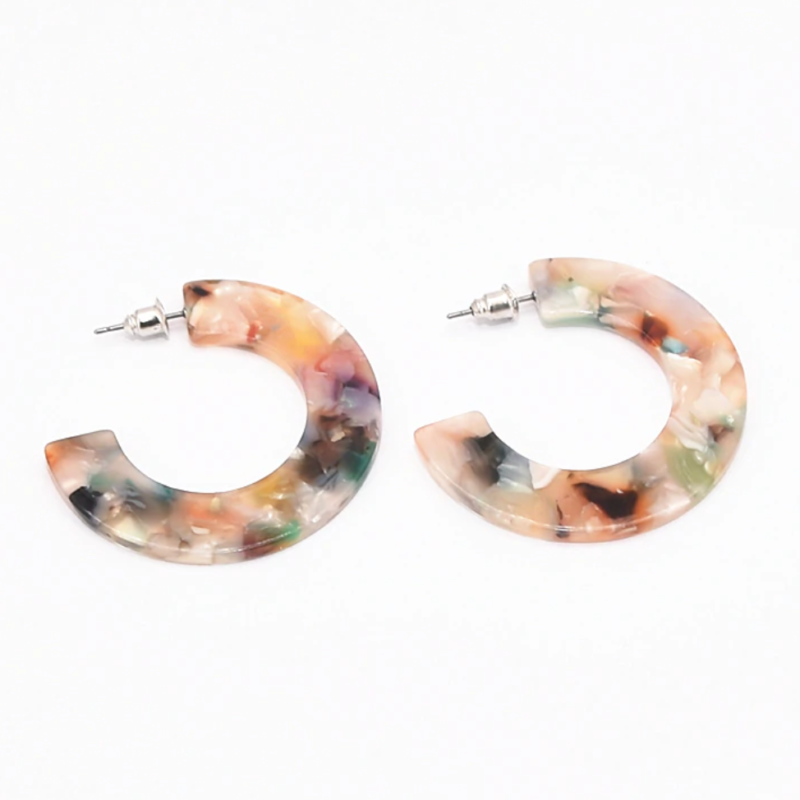 Rainbow Acrylic Fashion Statement Earrings Hoop Earrings. Topshop Zara - Style
