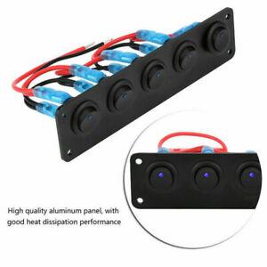 5-GANG-Kippschalter-Wippschalter-Schalttafel-Blau-LED-12V-24V-Boot-Marine-Auto
