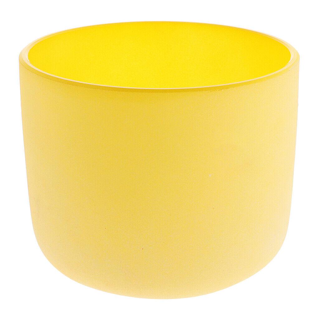 Kristall Klangschale E Hinweis Solar Mattquarz 7 Zoll Gelb