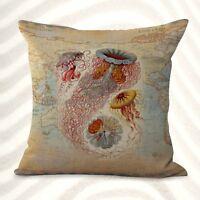 Us Seller-ocean Jellyfish Marine World Map Cushion Cover Decorative Pillows