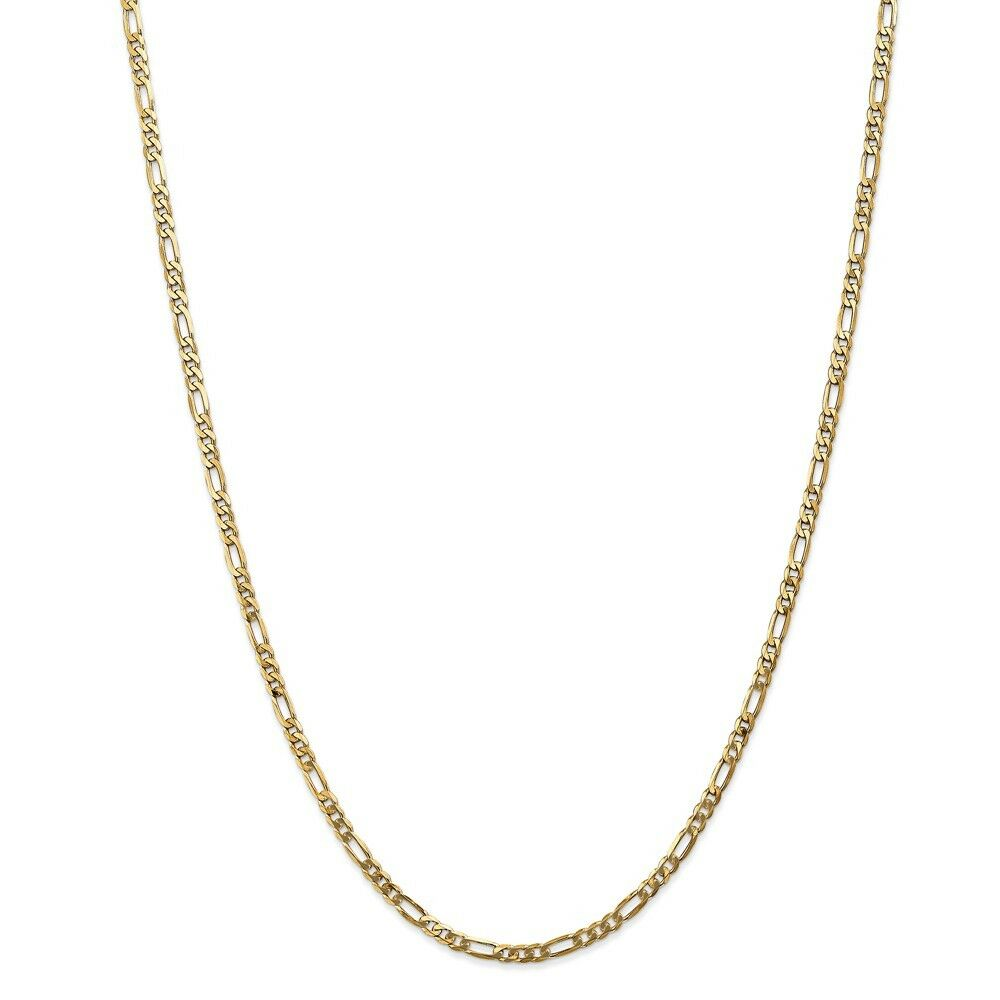 14kt Yellow gold 3.00mm Flat Figaro Chain; 18 inch