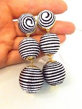 Black and White Thread Ball Drop Statement Earrings -UK SELLER