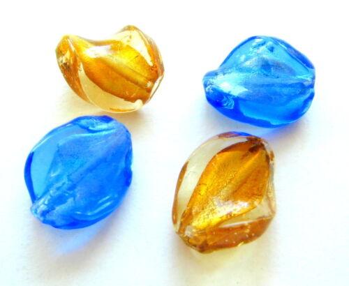 Silberfolien Glasperlen Wellen 15x20mm 10 Stück SERAJOSY