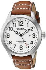 Nautica NAD10005G NCC 01 White Dial Tan Leather Strap Men's Watch