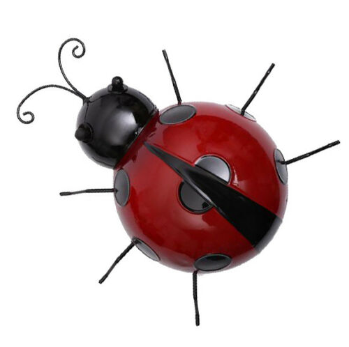 12Pc Metal Ladybug Insects Hanger Wall Hanging Outdoor Garden Decor 10cm Red