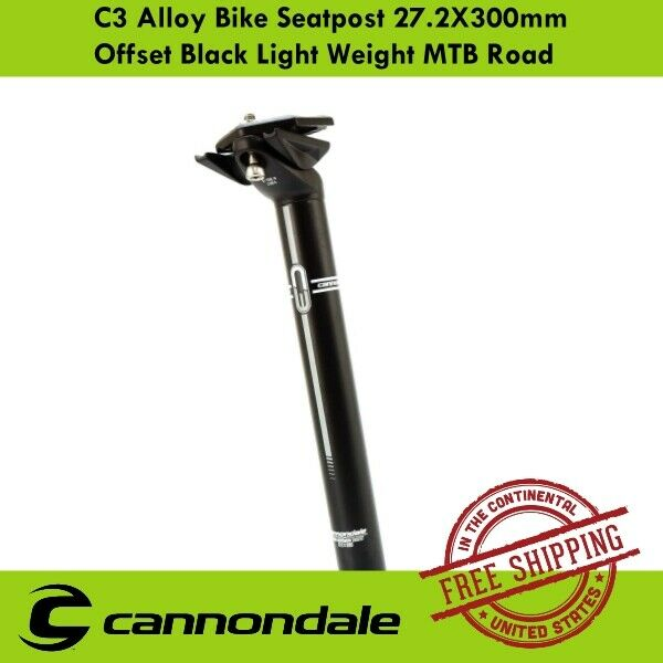 Cannondale C3 Alloy Bike Seatpost 27.2X300mm Offset Black Light Weight MTB Road