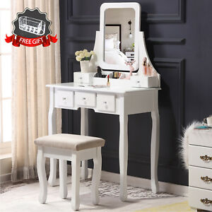 Image Is Loading Makeup Vanity Dressing Table W Stool 5 Drawers