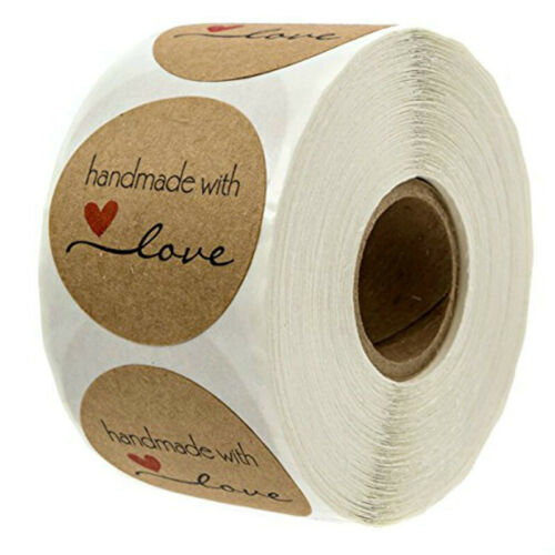 500pcs Inch Round Natural Kraft Handmade with Love Stickers for decorations