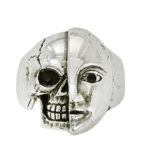 Vintage Style ! Men Head Skull Design 925 Sterling Silver Men/'s Biker Ring Sz-9