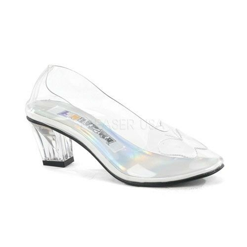 "Funtasma 2"" Clear Glass Slippers Cinderella Fairytale Costume Cosplay Shoes 6-12"