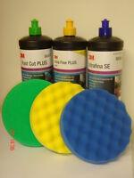 3M Perfect-it III Ultrafina Blue Fast Cut Green Extra Fine Yellow Polish & Pads
