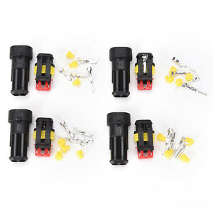 10 Kit 2 Pin Way Waterproof Electrical Wire Connector Plug Car Motorcycle FO