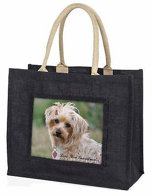 Yorkie Hund' liebe Dich Oma' große schwarze Einkaufstasche WEIHNACHTEN