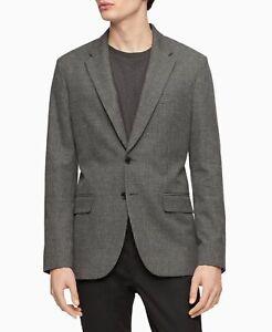 Calvin-Klein-Mens-Sport-Coat-Gray-Size-Small-S-Two-Button-Plaid-Print-198-199