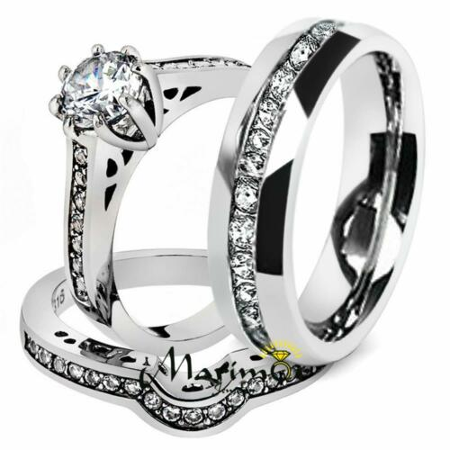 His /& Her 3Pc Stainless Steel Engagement Bridal Ring Set /& Eternity Wedding Band