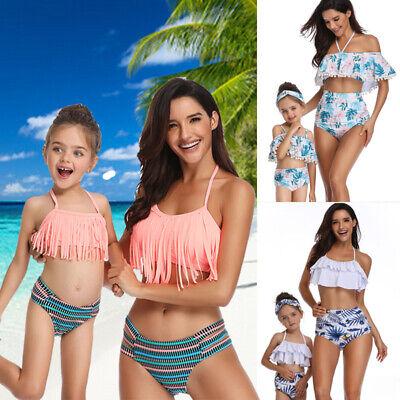 Family Matching Bikini Mother Daughter Swimwear Kids Women Swimsuit NEW