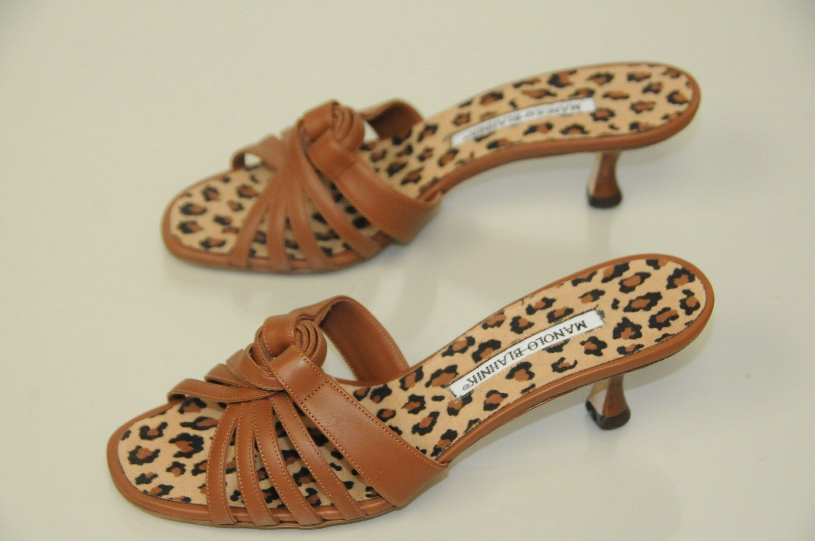 795 Nueva Manolo Blahnik Marrón Zapatos sandalias sandalias sandalias sin talón Fáciles de poner Leopardo 37 Tacones Gatito  Para tu estilo de juego a los precios más baratos.