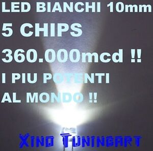 N°1 White LED White 10mm 5-CHIPS 360,000mcd 1W 40°High Power Brightness xino