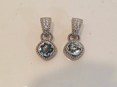 Vintage Judith Ripka sterling silver aquamarine cz stone