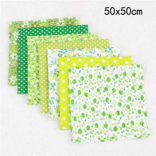 DIY 50*50cm Mixed Pattern Cotton Fabric Sewing Quilting Patchwork Crafts 7 Pcs