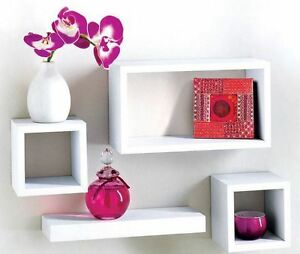 MDF-4-Floating-Wall-Storage-and-ornaments-Display-Unit-Cubes-Shelves-White