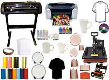 8in1 Pro Combo Heat Press 28 Vinyl Cutter Plotter Printer Ciss Ink Startup Pack