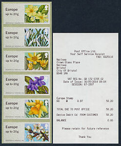 NCR-TYPE-IIA-SPRING-FLOWERS-OBSOLETE-EUROPE-up-to-20g-VALUES-STRIP-6-POST-amp-GO