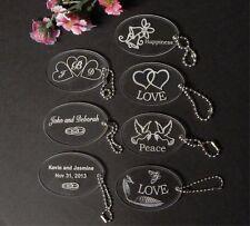 Custom Oval Acrylic Wedding Key Chain Favors Choice of Design Qty of 50 keychain