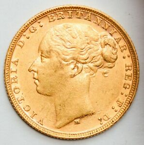 LUSTROUS 1878-M Victoria Young Head St. George Reverse Gold Sovereign