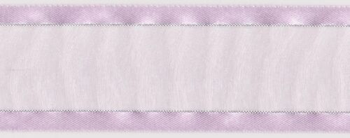 38mm Lavender Silver Satin Edged Organza Ribbon