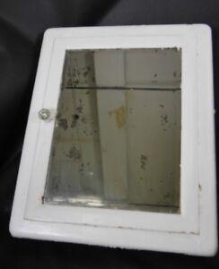 antique vintage medicine cabinet metal with mirror united mfg rh ebay com  antique metal medicine cabinets with etched mirror