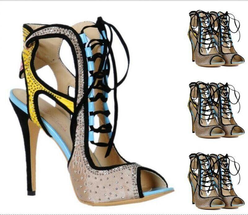 Elegant Peep Toe à Lacets Strass Slim Talon Haut Chaussures d'été Femmes Sandales US
